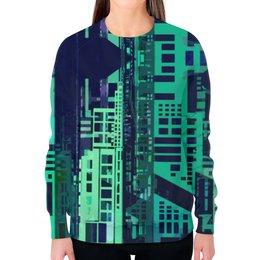 """Свитшот женский с полной запечаткой """"""""Город будущего"""" Киберпанк"""" - синий, киберпанк, небоскребы, мегаполис"""
