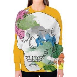 """Свитшот женский с полной запечаткой """"Череп Акварель"""" - череп, цветы, рисунок, кляксы, акварель"""