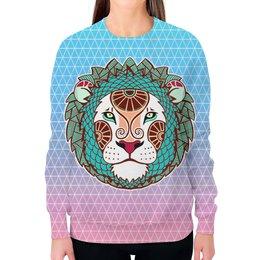 """Свитшот женский с полной запечаткой """"лев царь зверей   в природе символ силы"""" - царь, лев, символ, животное, власть"""