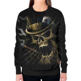 """Свитшот женский с полной запечаткой """"Skull Art"""" - skull, череп, игральные карты, сигарета, арт дизайн"""