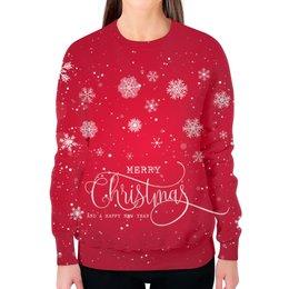 """Свитшот женский с полной запечаткой """"Merry Christmas"""" - праздник, новый год, рождество, снежинки, merry christmas"""