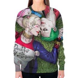 """Свитшот женский с полной запечаткой """"Mad Love (Harley Quinn, The Joker)"""" - джокер, харли квинн, отряд самоубийц, суперзлодеи, безумная любовь"""