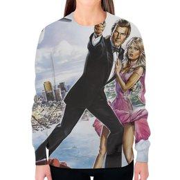 "Свитшот женский с полной запечаткой ""Джеймс Бонд (James Bond)"" - 007, джеймс бонд"