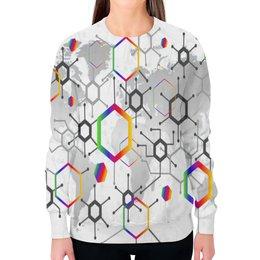 """Свитшот женский с полной запечаткой """"Формула"""" - узор, текстура, формула, химия, молекулы"""