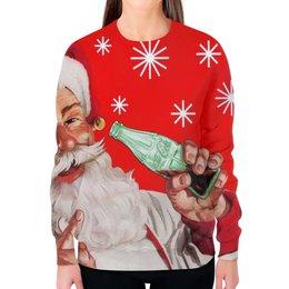 """Свитшот женский с полной запечаткой """"Новый Год"""" - новый год, дед мороз, санта, праздники"""