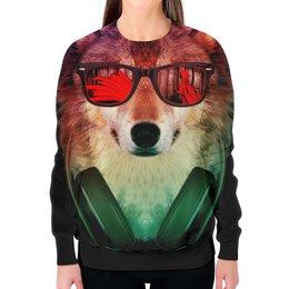 """Свитшот женский с полной запечаткой """"Волк в очках"""" - арт, наушники, абстракция, волк, диджей"""