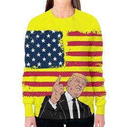 """Свитшот женский с полной запечаткой """"Дональд Трамп"""" - сша, президент, трамп, дональдтрамп, donaldtrump"""