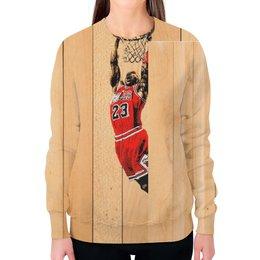 """Свитшот женский с полной запечаткой """"Майкл Джордан (Michael Jordan)"""" - 23, nba, jordan, нба"""