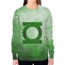 """Свитшот женский с полной запечаткой """"Зелёный Фонарь (Green Lantern)"""" - green lantern, зелёный фонарь"""