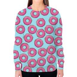 """Свитшот женский с полной запечаткой """"Пончики"""" - пончики, пончик, donuts, wax, с пончиками"""