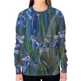 """Свитшот женский с полной запечаткой """"Танец цветов"""" - весна, лепестки, живопись, оригинальный подарок, синее для девушки"""