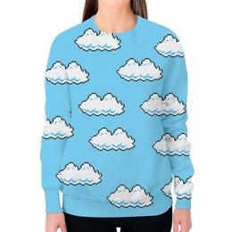 """Свитшот женский с полной запечаткой """"Облака 8 bit"""" - 8 bit, облака, mario, 8 бит"""