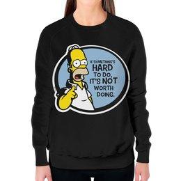 """Свитшот женский с полной запечаткой """"Мудрость Гомера Симпсона"""" - simpsons, homer, прикольные, гомер симпсон, симпспоны"""