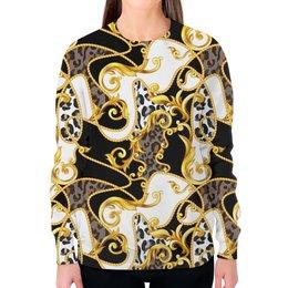 """Свитшот женский с полной запечаткой """"Vintage"""" - узоры, винтаж, золотой, модникам, бароко"""