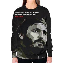 """Свитшот женский с полной запечаткой """"Фидель Кастро"""" - поп арт, революция, че гевара, куба, сигара"""