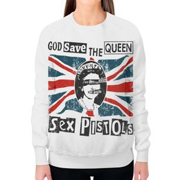 """Свитшот женский с полной запечаткой """"Sex Pistols"""" - рок, панк, группы, sex pistols, god save the queen"""