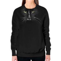 """Свитшот женский с полной запечаткой """"черный кот"""" - арт, стиль, рисунок"""