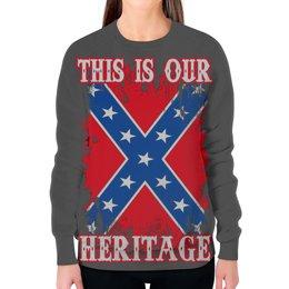 """Свитшот женский с полной запечаткой """"Флаг Конфедерации США"""" - война, америка, флаг, сша, флаг конфедерации"""