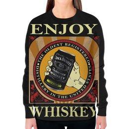 "Свитшот женский с полной запечаткой ""Jack Daniels"" - алкоголь, виски, whiskey, alcohol, jack daniels"