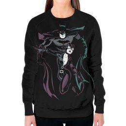 """Свитшот женский с полной запечаткой """"Бэтмен и Женщина - кошка"""" - batman, бэтмен, catwoman, женщина- кошка"""