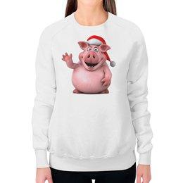 """Свитшот женский с полной запечаткой """"СВИНЬЯ.НОВЫЙ ГОД."""" - праздник, новый год, мульт, животное, свинья"""