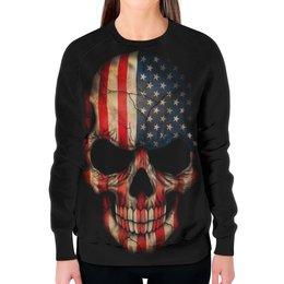 """Свитшот женский с полной запечаткой """"Череп/Флаг США"""" - skull, череп, америка, usa, флаг"""
