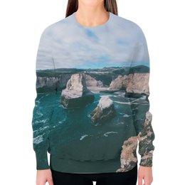 """Свитшот женский с полной запечаткой """"Свитшот Rocks"""" - природа, пейзаж, свобода, freedom, скалы"""