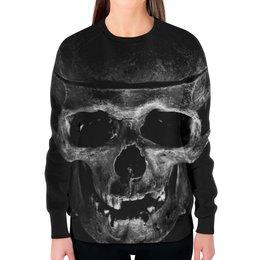 """Свитшот женский с полной запечаткой """"Skull"""" - череп, кости, тьма"""