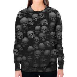 """Свитшот женский с полной запечаткой """"BlackSkull """" - череп, скелет, абстракция, анатомия, иллюзия"""