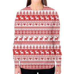 """Свитшот женский с полной запечаткой """"Свитер с оленями """" - узор, орнамент, свитер, олени"""