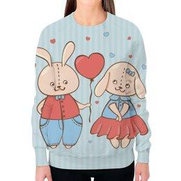 """Свитшот женский с полной запечаткой """"Влюбленные зайцы"""" - сердца, 14 февраля, парные, зайцы"""