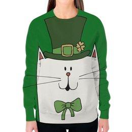 """Свитшот женский с полной запечаткой """"Ирландский Кот"""" - кот, клевер, ирландия, день святого патрика"""