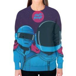 """Свитшот женский с полной запечаткой """"Daft Punk"""" - электроника, daft punk, дафт панк"""