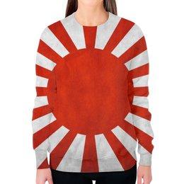 """Свитшот женский с полной запечаткой """"Япония (Japan)"""" - солнце, япония, japan, японский флаг"""