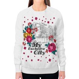 """Свитшот женский с полной запечаткой """"Город"""" - цветы, город"""