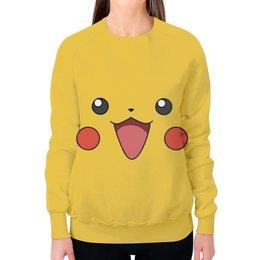 "Свитшот женский с полной запечаткой ""Пикачу"" - pokemon, покемон, пикачу, pikachu, pokemon go"