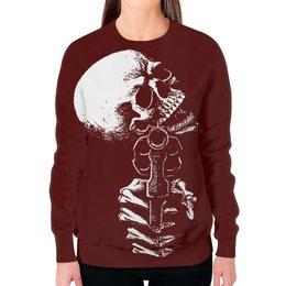 """Свитшот женский с полной запечаткой """"Skull Art"""" - skull, череп, пистолет, gun, арт дизайн"""
