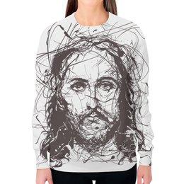 """Свитшот женский с полной запечаткой """"Я верю в искусство"""" - арт, религия, христианство, jesus christ, иисус христос"""