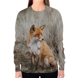 """Свитшот женский с полной запечаткой """"Лиса     """" - животные, фото, лиса, лисичка"""
