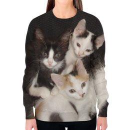 """Свитшот женский с полной запечаткой """"Кото-братва."""" - кошки, коты, котэ, котята, котики"""