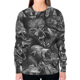 """Свитшот женский с полной запечаткой """"Волчий оскал   """" - дизайн, ужасы, оборотень, волки"""