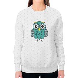 """Свитшот женский с полной запечаткой """"Мятная Сова"""" - животные, рисунок, сова, animals, owl"""