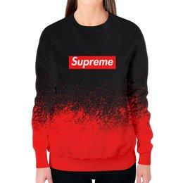 "Свитшот женский с полной запечаткой ""Supreme (1)"" - red, краска, supreme, суприм, sup"