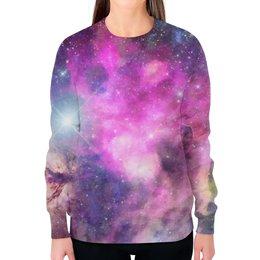 """Свитшот женский с полной запечаткой """"Акварельное Пространство"""" - космос, абстракция, акварель, галактика, пространство"""