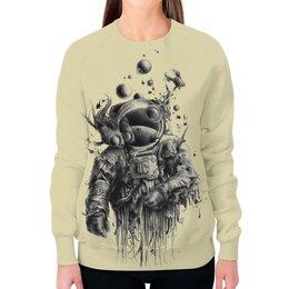 """Свитшот женский с полной запечаткой """"Неординарный арт"""" - море, рисунок, рыба, водолаз, арт дизайн"""