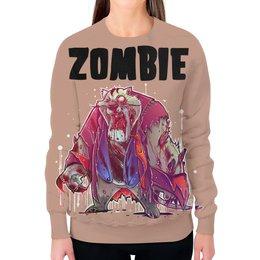 "Свитшот женский с полной запечаткой ""Zombie Cat"" - кот, животные, zombie, зомби, cat"