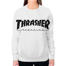 """Свитшот женский с полной запечаткой """"Thrasher"""" - thrasher, трэшер, свитшот thrasher, свитшот трэшер"""