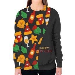 """Свитшот женский с полной запечаткой """"Happy New Year"""" - звезды, подарок, рождество, елка, merry christmas"""