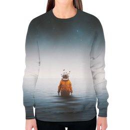 """Свитшот женский с полной запечаткой """"Space in ocean"""" - бабочки, space, космос, океан, космонавт"""