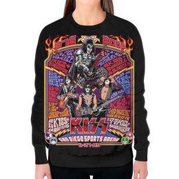 "Свитшот женский с полной запечаткой ""Kiss Band"" - kiss, heavy metal, рок музыка, кисс, хеви метал"